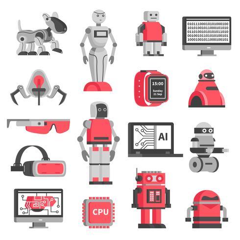 Intelligence artificielle décorative Icons Set vecteur