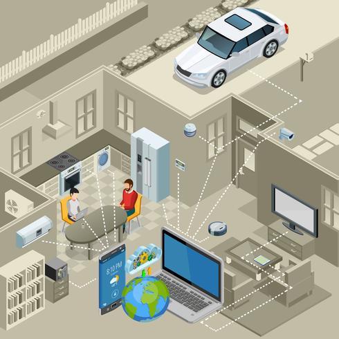 Affiche isométrique du concept Internet of Things vecteur