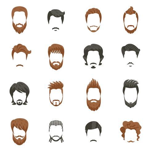 Ensemble d'icônes de coiffure hommes vecteur