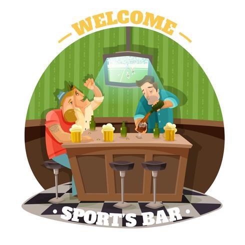 Illustration d'un pub de football vecteur
