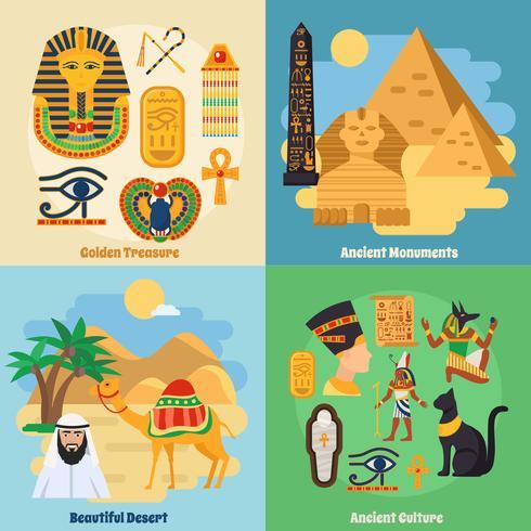 Egypte Concept Icons Set vecteur