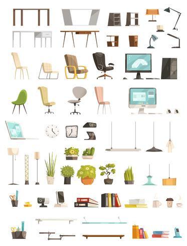 Ensemble de dessin animé d'accessoires de bureau moderne vecteur