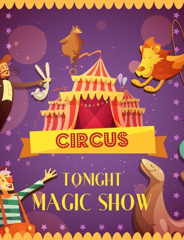 Affiche d'annonce de spectacle de magie de cirque itinérant vecteur