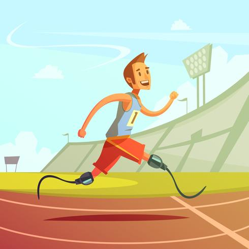Illustration de coureur handicapé vecteur