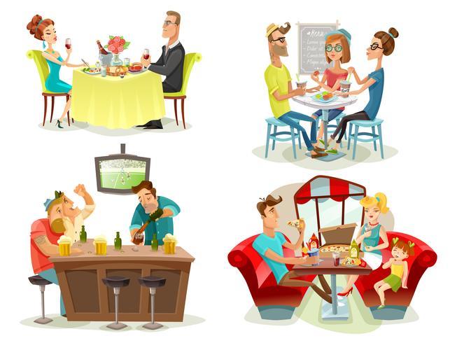 Restaurant Cafe Bar Personnes 4 Icônes vecteur