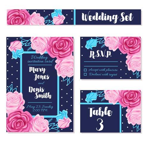 Sauvegarder cartes d'invitation de date de mariage vecteur