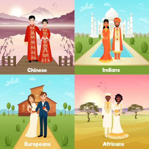 Concept de conception de couples de mariage multiculturel vecteur