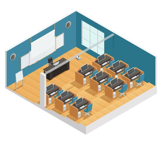 Affiche intérieure de la salle de classe moderne vecteur