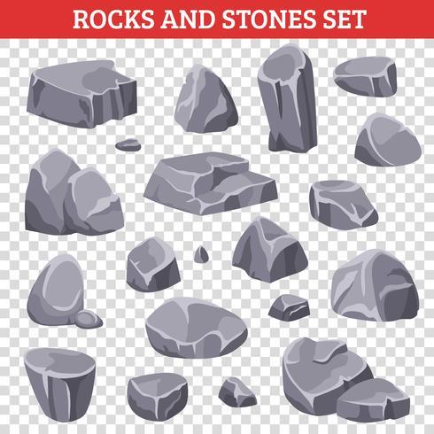 Gros et petits rochers gris et pierres vecteur