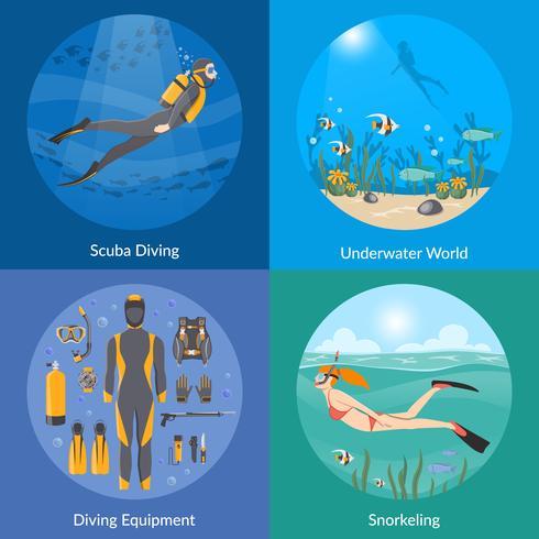 Plongée et Snorkeling 2x2 Design Concept vecteur