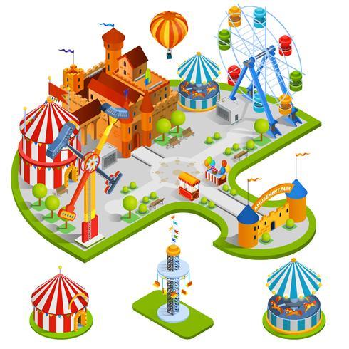 Composition isométrique du parc d'attractions vecteur