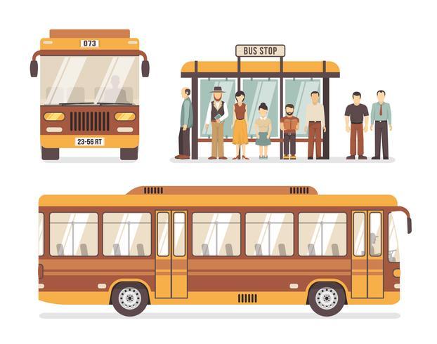 Icônes plats arrêt de bus de la ville vecteur