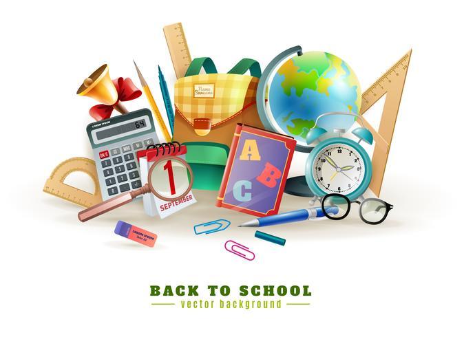 Affiche de composition pour le retour à l'école vecteur