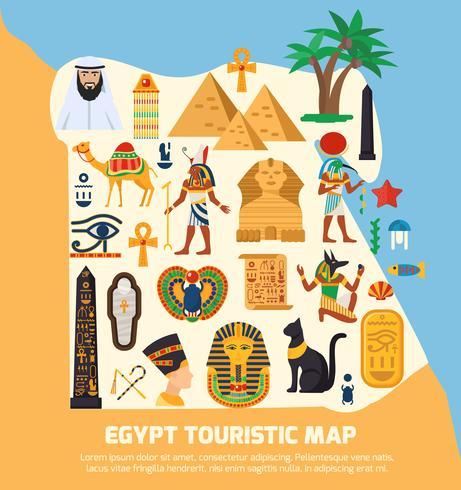 Carte touristique de l'Egypte vecteur