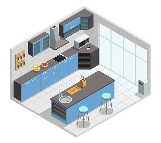 Concept isométrique intérieur de cuisine vecteur