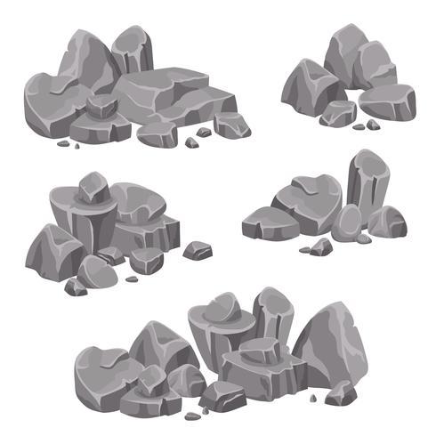 Groupes de conception de roches et de pierres rocheuses vecteur