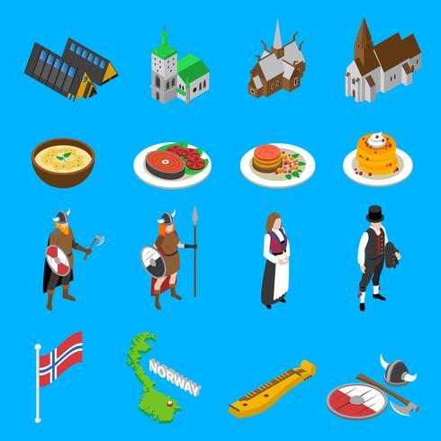 Collection d'icônes isométriques des attractions touristiques de Norvège vecteur