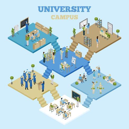 Illustration isométrique d'université vecteur
