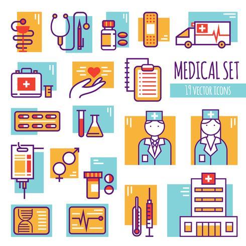 Ligne médicale décorative Icons Set vecteur