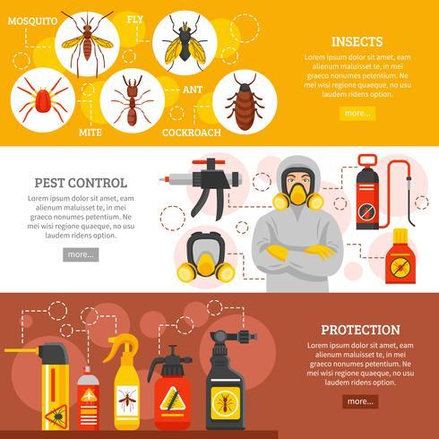 Bannières horizontales de lutte contre les parasites vecteur