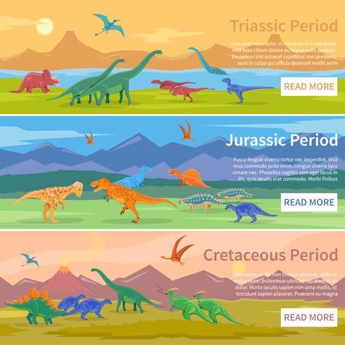 Bannières horizontales plates de dinosaures vecteur