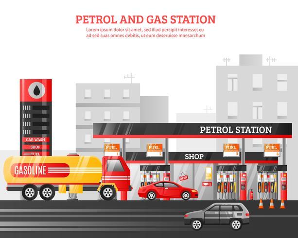 Illustration de stations d'essence et de gaz vecteur