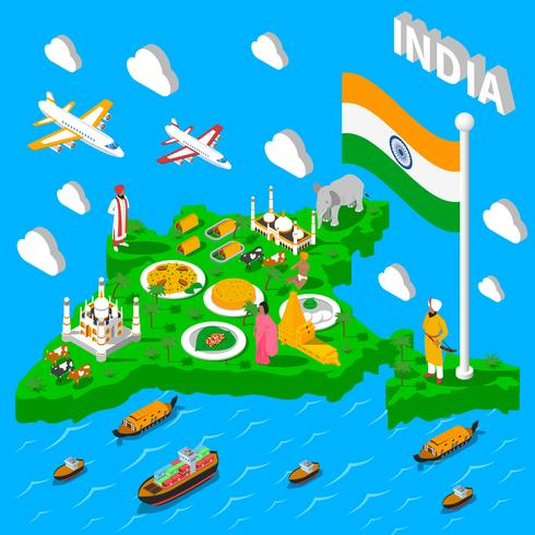 Affiche isométrique touristique de carte de l'Inde vecteur