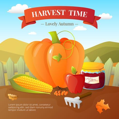 Affiche plate du temps des récoltes d'automne vecteur