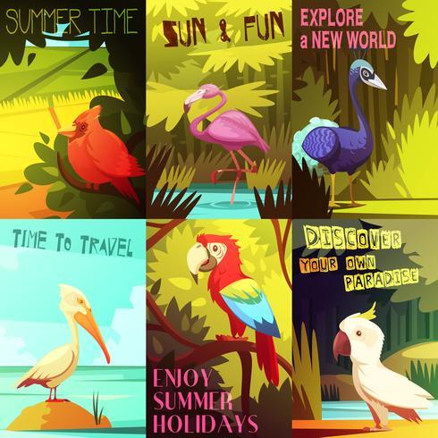 Composition d'affiche 6 oiseaux exotiques vecteur