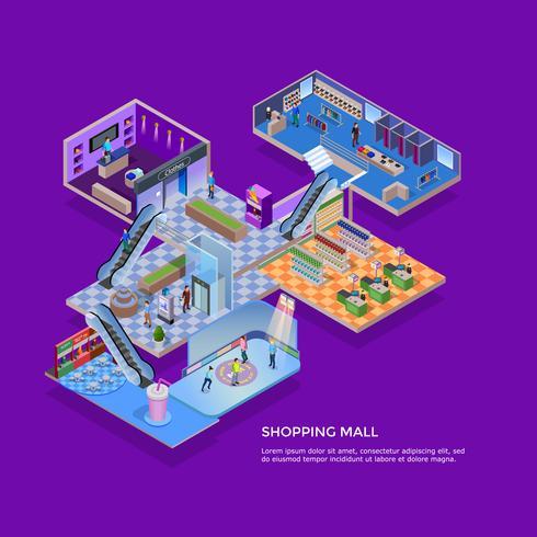 Concept isométrique de centre commercial vecteur
