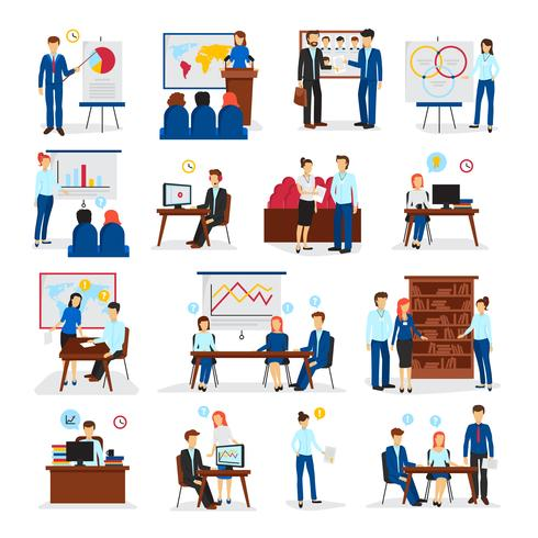 Business Training Consulting Flat Icons Set vecteur