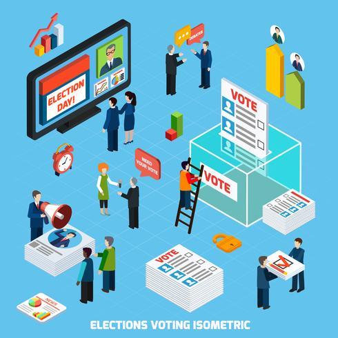 Élections et vote Composition isométrique vecteur
