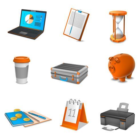 Business réaliste icônes définies vecteur