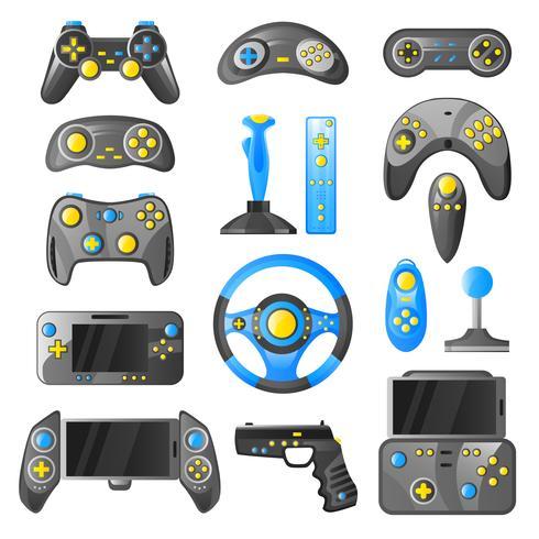 Collection d'icônes décoratives de gadget de jeu vecteur