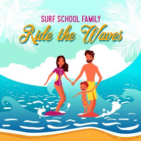 Illustration vectorielle de l'école de surf vecteur