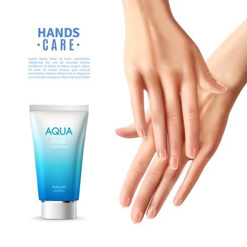 Affiche réaliste de crème de soin de main vecteur