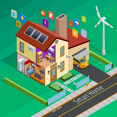 Affiche isométrique d'Internet Of Things Home vecteur