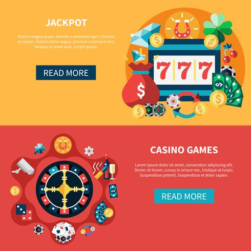 Jeu de bannières de jeux de casino vecteur