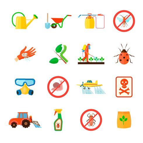 Ensemble d'icônes de pesticides vecteur