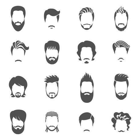 Ensemble d'icônes noires coiffure homme vecteur