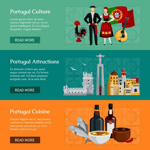 Bannières Plates Portugal vecteur