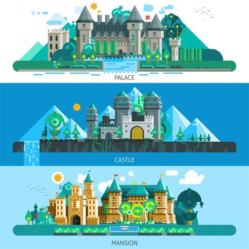 Bannières horizontales de châteaux antiques vecteur