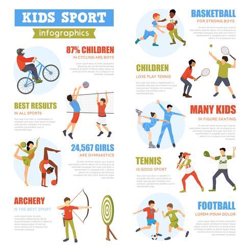 Infographie Sport Enfants Set vecteur
