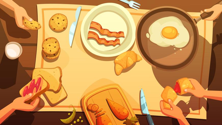 Petit déjeuner, table, vue vecteur
