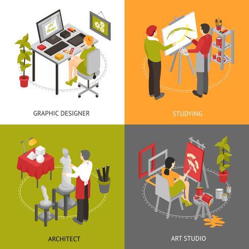 Art Studio isometric 2x2 Icons Set vecteur