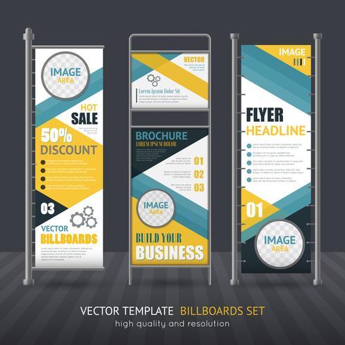 Ensemble promotionnel de panneau d'affichage vertical vecteur