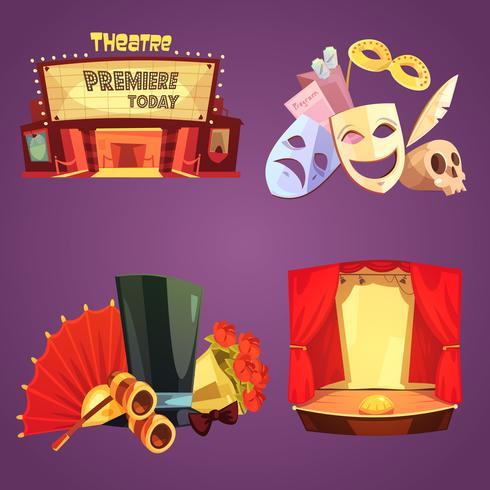 Théâtre rétro Cartoon 2x2 Icons Set vecteur
