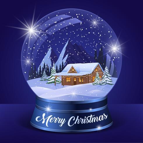 Globe d'hiver paysage de Noël vecteur