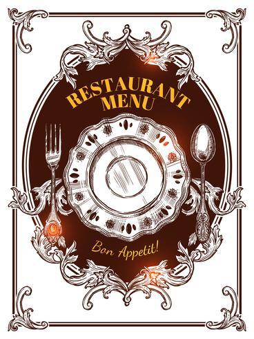 Couverture de menu de restaurant Vintage vecteur