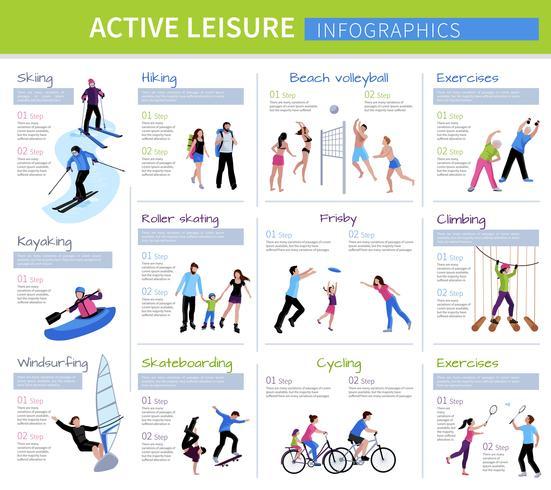 Infographie de personnes actives de loisirs vecteur